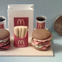 Barbie Sized McDonalds Big Mac Hamburger Food Display Board