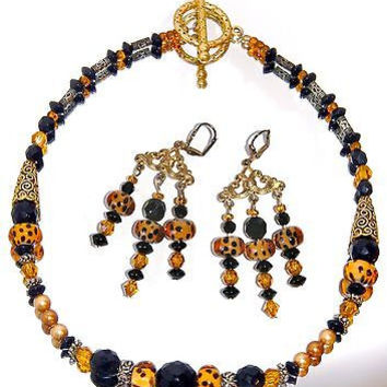 Venetian Art Glass Necklace Earrings SET Leopard Faceted Black Beads