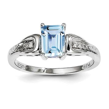 Sterling Silver Sky Blue Topaz Octagon and Diamond Ring