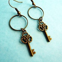 French Style Key Earrings