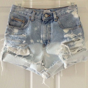 Custom High Waisted Waist Shorts Vintage Denim Ombre Tye Dye Stud Studded Ripped Bleached Ombre Ripped