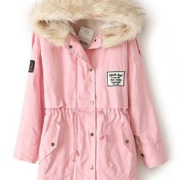 Pink Faux Fur Hooded Fleece lined Military Coat