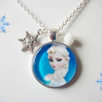 Beautiful Frozen Elsa Charm Necklace