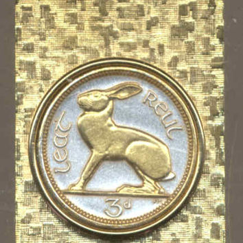 Gorgeous 2-Toned Gold on Silver Irish  Rabbit,  Coin - Money clips