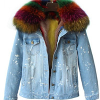 Shae Distressed Denim Fur Jacket Multi