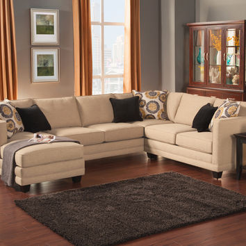 A.M.B. Furniture & Design :: Living room furniture :: Sofas and Sets :: Sectional Sofas :: 3 pc Oasis collection almond color fabric upholstered sectional sofa with square arms and chaise
