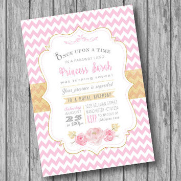 Princess Birthday Invitation, Princess Invites, Pink and Gold Invitation, Once upon a time, Princess Party, Girl Birthday Party (Printable)