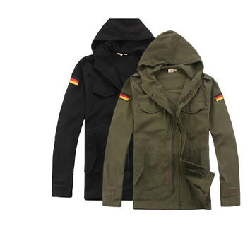 German Army fans outdoor design windbreaker jacket hooded black