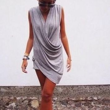 Streetstyle  Casual New Women Grey Plain Irregular V-neck Sleeveless Fashion Mini Dress