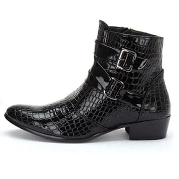 2016 Fashion Crocodile Patent Leather Men Boots, Warm Men Winter Boots, Leather Men An