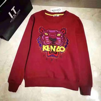 KENZO Woman Men Casual Fashion Embroidery Top Sweater Pullover