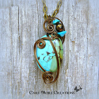 Turquoise Wire Wrapped Pendant Necklace in Antique Bronze