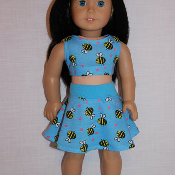 18 inch doll clothes, bee print skater/circle skirt and matching crop top, Upbeat Petites