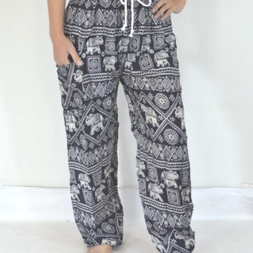 Thai Black grey elephant stripes Yoga Pants/Harem Pants/Boho/Elephant design/Stretch elastic waist/Comfortable wear/Message wear/Thailand.
