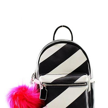 Striped Mini Backpack with PomPom
