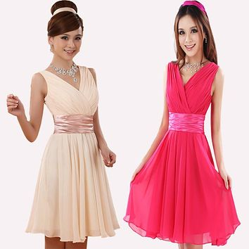 2017 summer new arrival short costumes bride toast clothing Cocktail dress chiffon green party dress Homecoming Graduation dress