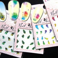 Water Tattoo Nail Art Stickers Feather Mania /I/, Pack of 5