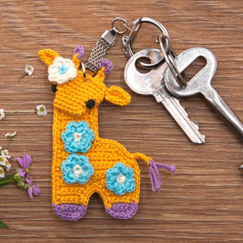 Crochet Giraffe Keychain Amigurumi Toy Crochet gifts - Made to Order