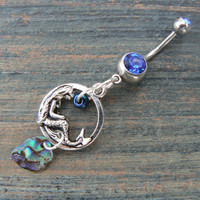mermaid abalone belly ring mermaid siren charm abalone in fantasy boho gypsy hippie belly dancer  beach and hipster style