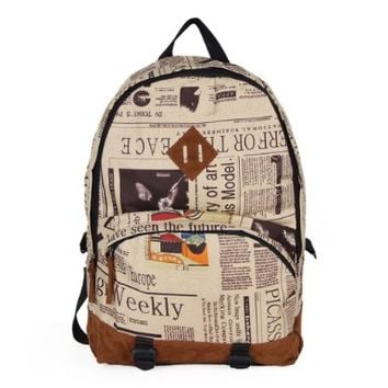 Your Gallery Girl Newspaper Print Canvas Travel Backpack Student School Shoulder Bag:Amazon:Shoes