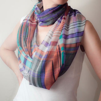 Plaid Infinity Scarf Turquoise Brown Violet Tartan Loop Scarf Lightweight Circle Scarf Long Eternity Scarf Women's Fashion Accessories