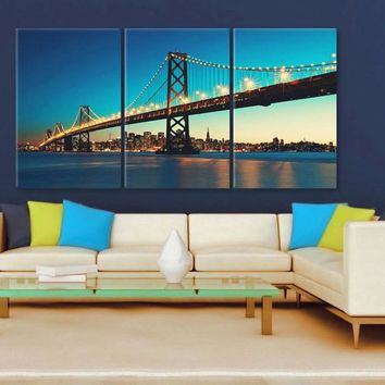 "LARGE 30""x 60"" 3 Panels Art Canvas Print Beautiful Bay Bridge San Francisco California Wall Home decor interior (Included framed 1.5"" depth)"