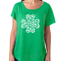 St. Patricks Day shirt womens t-shirt Shamrock Vintage dolman scoop neck tshirt funny wife gift graphic tee shirt Irish green clover tunic