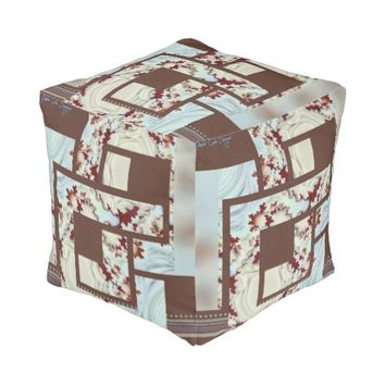 Trendy fractal art cubed pouf with my design cube pouf