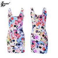 2016 Summer Style Color Skull Head Lady Sexy Elegant Casual Skater Dresses Sleeveless Slim Bodycon Vestidos Youth Clothing X-221