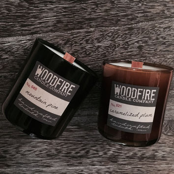 Kentucky Bourbon Whiskey Glass Soy Wood Wick Candle
