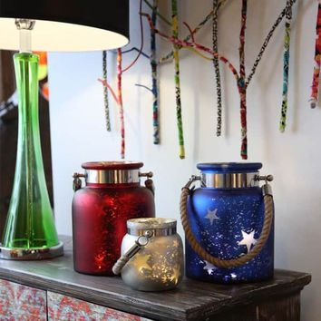 Blue, Red, and White Mercury Glass 8.6-inch Star Jar with Lights | Overstock.com Shopping - The Best Deals on Accent Pieces