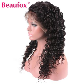 Lace Front Human Hair Wigs Brazilian Deep Wave Wig Pre Plucked Lace Wig With Baby Hair Natural Black Remy Beaufox Hair