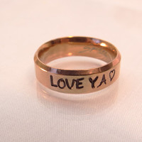 Customized gold Message Ring/ wedding ring/ graduation/birthday/anniversary/any occasion