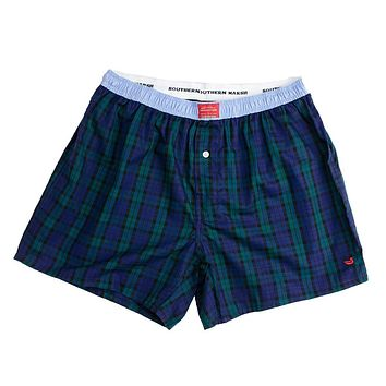 Hanover Oxford Boxers in Navy and Green Tartan by Southern Marsh