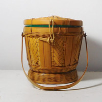 Wicker Ice Bucket with a Handle Green Plastic Containter and Lid Vintage