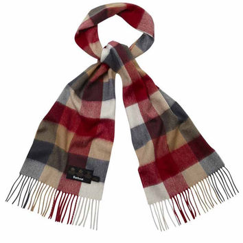 Large Tattersal Linen and Wool Scarf in Camel and Red by Barbour