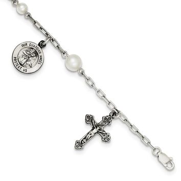 925 Sterling Silver Freshwater Cultured Cultured Pearl Rosary Bracelet