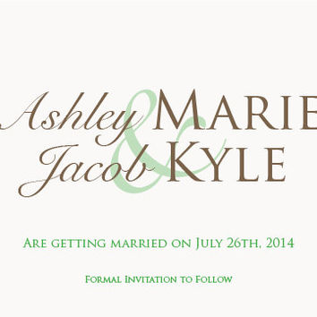 Modern Wedding Save the Date Card with Brown and Green Script Font Printable PDF