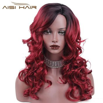 "I's a wig 20""  Long Ombre Wine Red Party Dress Halloween Synthetic Heat Resistant Full Hair Wigs"