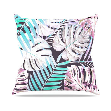 "Alison Coxon ""Midnight Jungle"" Pink Blue Throw Pillow"