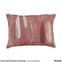 Decorative Feathers in Marsala Wine Personalize Accent Pillow