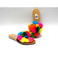 Pom Pom Slip On Sandals Multi Color