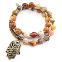 Happiness, Crazy lace agate 27 bead mala wrap bracelet™