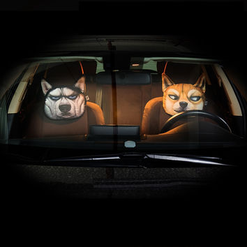 Car headrest 3D cartoon two Kazakhstan Akita husky gods dog spirit pollution neck pillow car with interior pillow