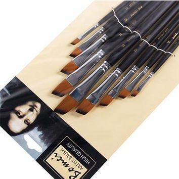9Pcs set Artist Paint Brush Round Pointed Flat Oblique Art Paint Brushes For Oil Watercolor Acrylic Painting Art Supplies