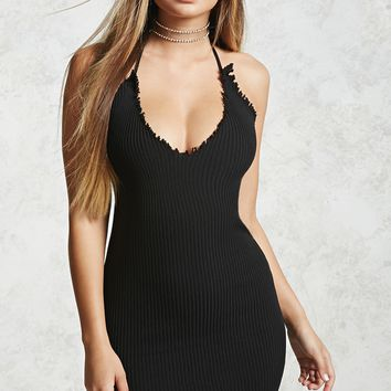 Distressed Ribbed Halter Dress