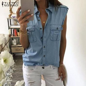 ESBONQK 2017 Summer Women Fashion Vintage Buttons Pockets Blouses Sexy Sleeveless Jeans Denim Blue Shirts Female Casual Blusas Tops