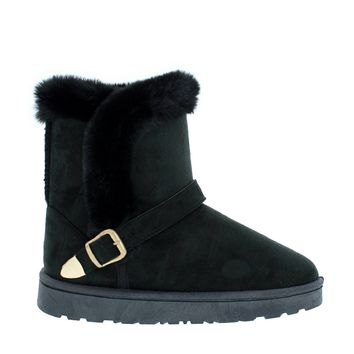 Fur Lined Buckled Snow Boot (BLACK)