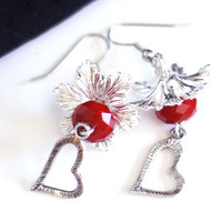 Heart Charm Earrings with Red Velvet Crystal Bead and Flower Cap - Womens Jewelry - Valentine Earrings - Mothers Day Gifts