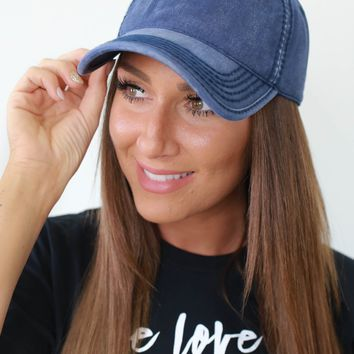 Keep Your Head Up Baseball Cap - Navy